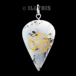 Pendentif Pentagramme - Agate Dendritique