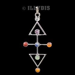 Pendentif Croix des Eléments 7 Chakras