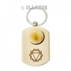 Porte-clefs chakra du Plexus Solaire - Bois gravé & Calcite jaune