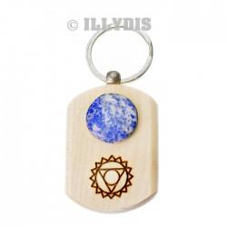 Porte-clefs chakra de la Gorge - Bois gravé & Lapis Lazuli