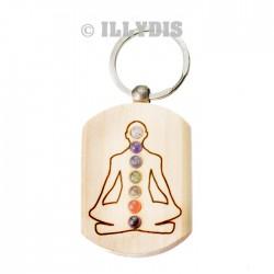 Porte-clefs Méditation 7 chakras - Bois gravé & pierres