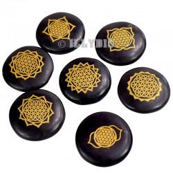 Chakras Fleurs de Vie Gravés - Onyx Noir - Lot de 7 pièces