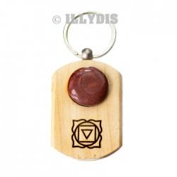 Porte-clefs chakra racine - Bois gravé & pierre