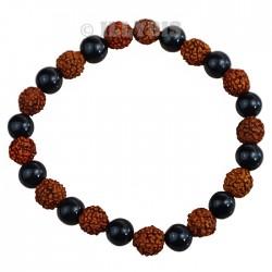 Bracelet Perles Agate Noire & Rudraksha - 8 mm