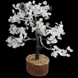 Arbre du Bonheur Tronc Cristal de Roche et Tourmaline Noire 18cm