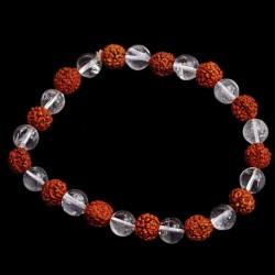 Bracelet Perles Cristal de Roche & Rudraksha - 8 mm