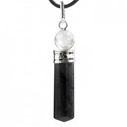 Pendentif Pointe Tourmaline Noire et Cristal de Roche 4cm