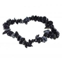 Bracelet Baroque : Obsidienne Mouchetée Qual. A - lot de 10